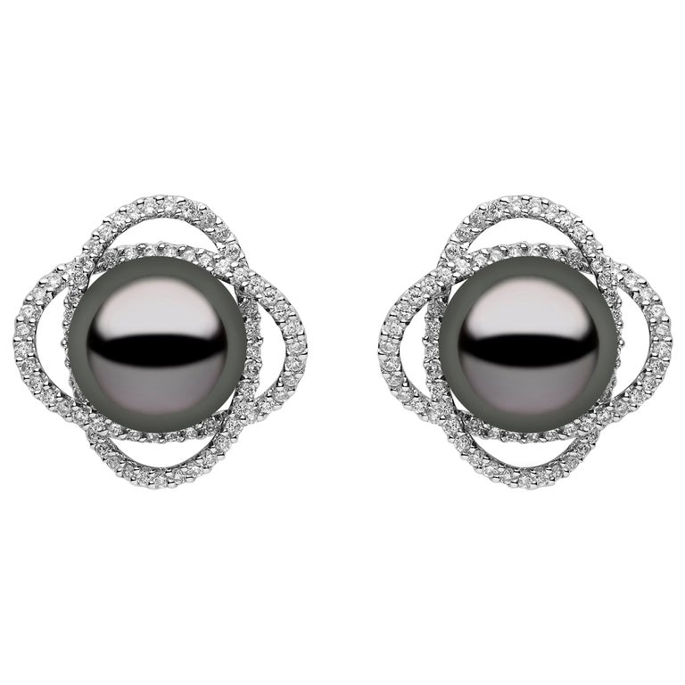 Yoko London Tahitian Pearl and Diamond Earrings, in 18 Karat White Gold For Sale
