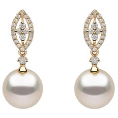 Yoko London South Sea Pearl and Diamond Earrings, in 18 Karat Yellow Gold