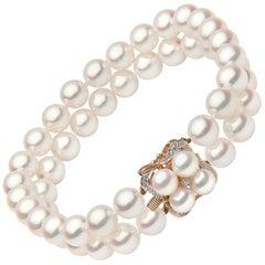 Yoko London Akoya Pearl and Diamond 2-Row Bracelet, in 18 Karat Yellow Gold