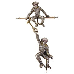 Antique Edwardian Novelty Hanging Paste set Monkey 9ct Gold and Silver Brooch