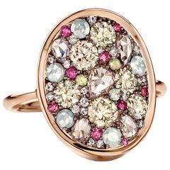 Joke Quick 2.3 Carat Rose-cut & Briljant-cut Diamond Pave Cocktail Ring