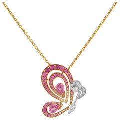 1,00 Carat Sapphire 18 Karat Rose Gold Butterfly Necklace
