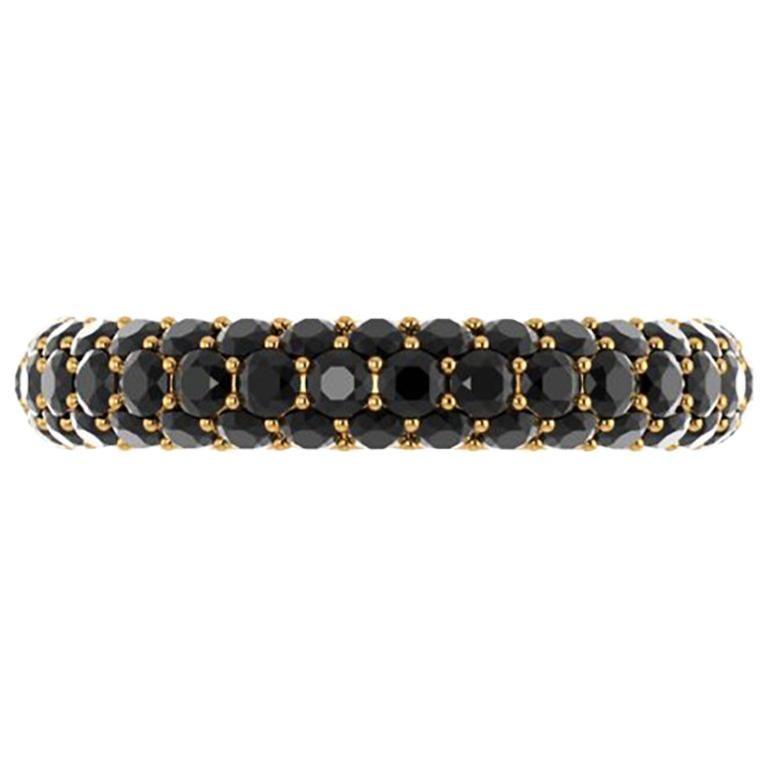 2.00 Carat Black Diamonds Pave Ring 18 Karat Yellow Gold For Sale