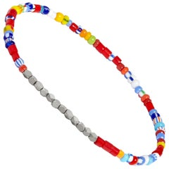 Men's Vintage Multicolored Beaded Bracelet with White Gold by Allison Bryan