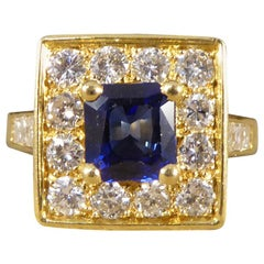 Vintage Square Face French Sapphire and Diamond 18 Carat Gold Ring