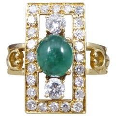 Vintage French Cabochon Emerald and Diamond 18 Carat Gold Ring