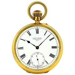 Edward F. Ashley English Open Face 18 Karat Yellow Gold Pocket Watch, 1890