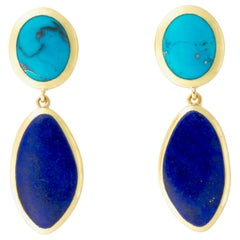 Turquoise and Lapis Earrings in 18 Karat Gold