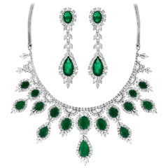 65 Ct Pear Shape Emerald and Diamond Necklace and Earring Bridal Suite, Estate