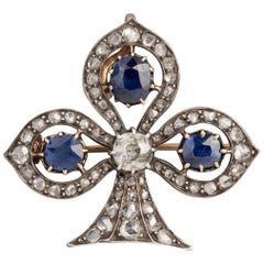 Antique Lys Flower Victorian Brooch, Diamonds and Sapphires
