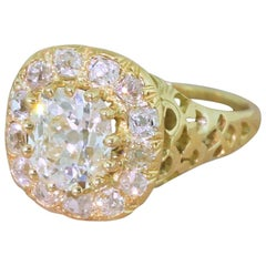 Victorian 2.80 Carat Old Mine Cut Diamond Cluster Ring
