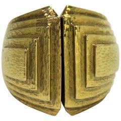 David Webb gehämmertes Gold geometrischer Design Ring