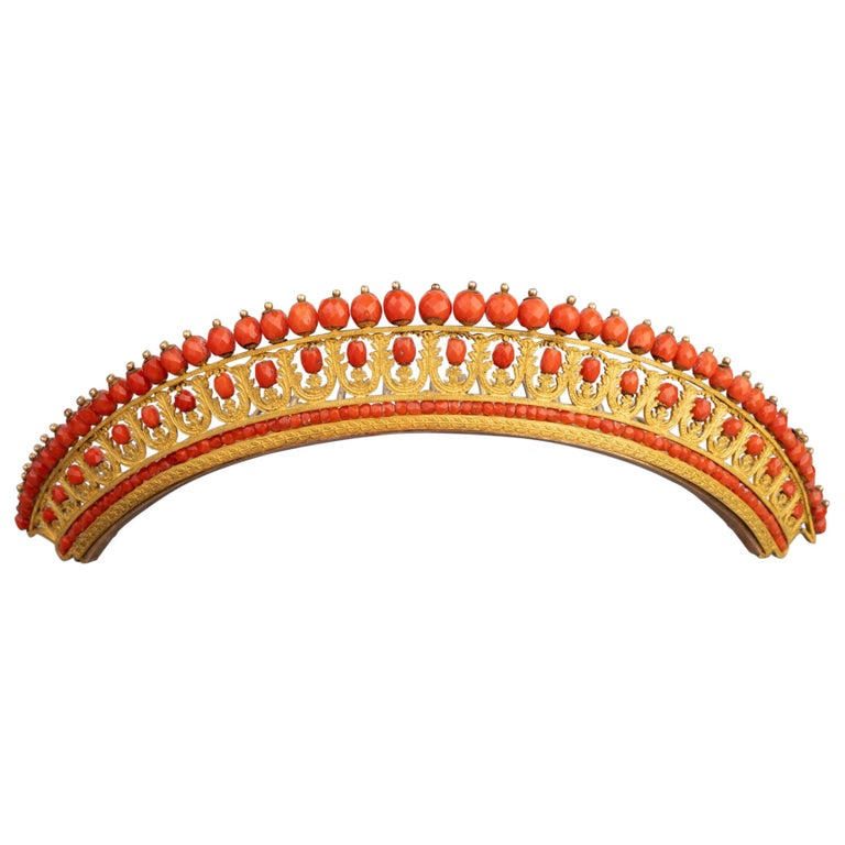 Antique Napoleon III Coral Gilt Metal Tiara For Sale