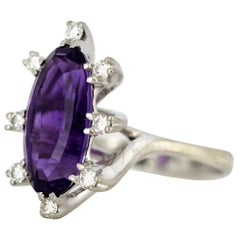 18 Karat White Gold Ladies Ring with Natural Amethyst and Diamonds