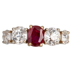 Ruby and Diamonds French Band Ring