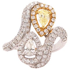 0.36 Pear Shaped Yellow Diamond and White Diamond Ring