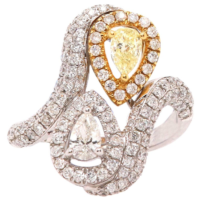 0.36 Pear Shaped Yellow Diamond and White Diamond Ring For Sale