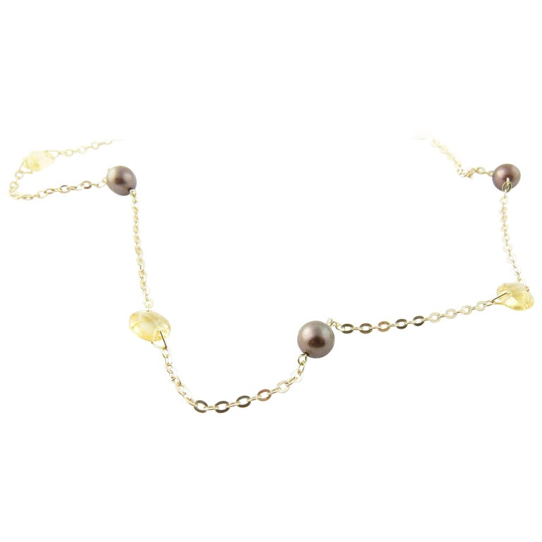 14 Karat Yellow Gold Grey Pearl and Citrine Necklace For Sale