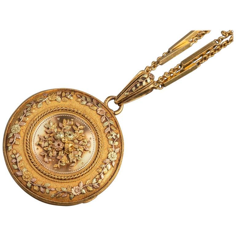 Antike französische viktorianische Medaillon Halskette 1