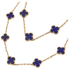 Van Cleef & Arpels 18 Karat Yellow Gold Lapis Lazuli Vintage Alhambra Necklace