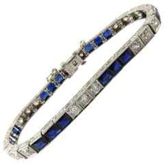 Art Deco Platinum Diamond and Sapphire Bracelet