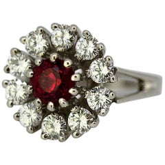18 Karat White Gold Ladies Cluster Ring with Natural Ruby and Diamonds