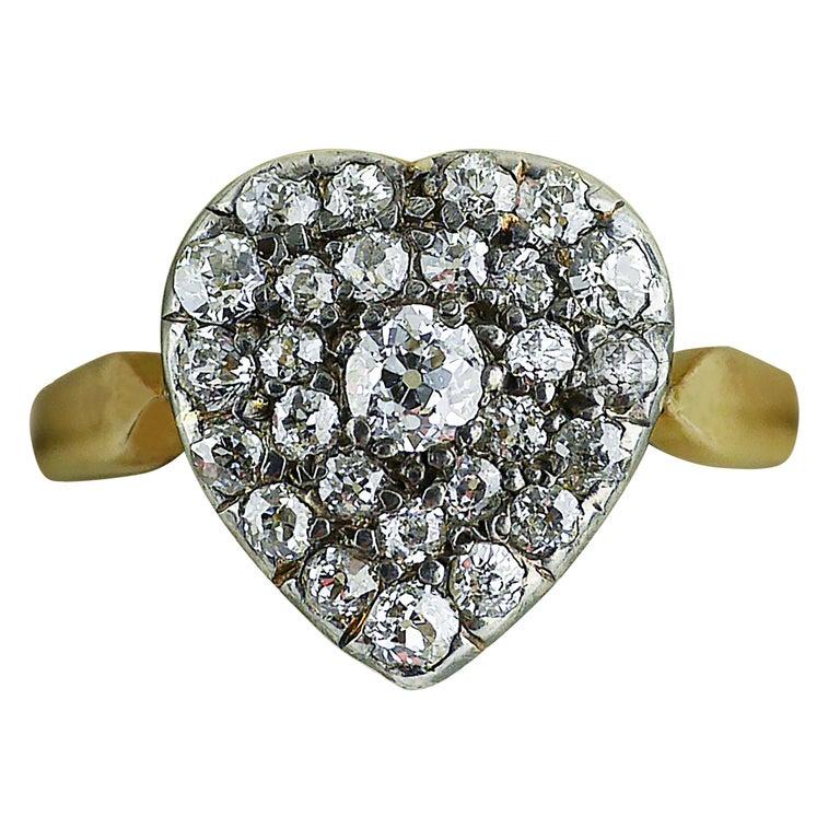 Victorian Diamond Heart Ring, circa 1870 For Sale