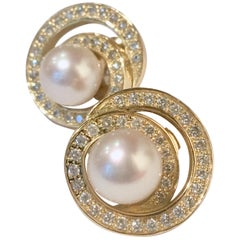 Pacific Pearl and 70 Diamonds 18 Karat Yellow Gold Whirlwind Earrings