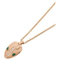 Bulgari 18 Karat Rose Gold Round Cut Diamond & Malachite Serpenti Necklace