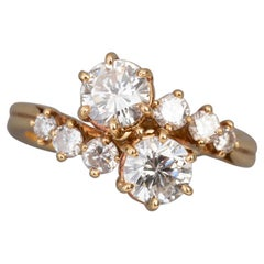 "Crossover Ring ""Toi et Moi"", Gold and Diamonds"