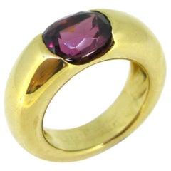 Cartier Ellipse Garnet Yellow Gold Band Ring