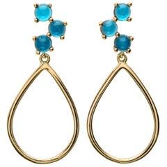 Maviada's Antibes 18 Karat Gold Vermeil London Blue Tear Drop Hoop Earrings