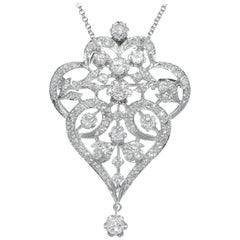3.00 Carat Diamond White Gold Brooch Pendant Necklace