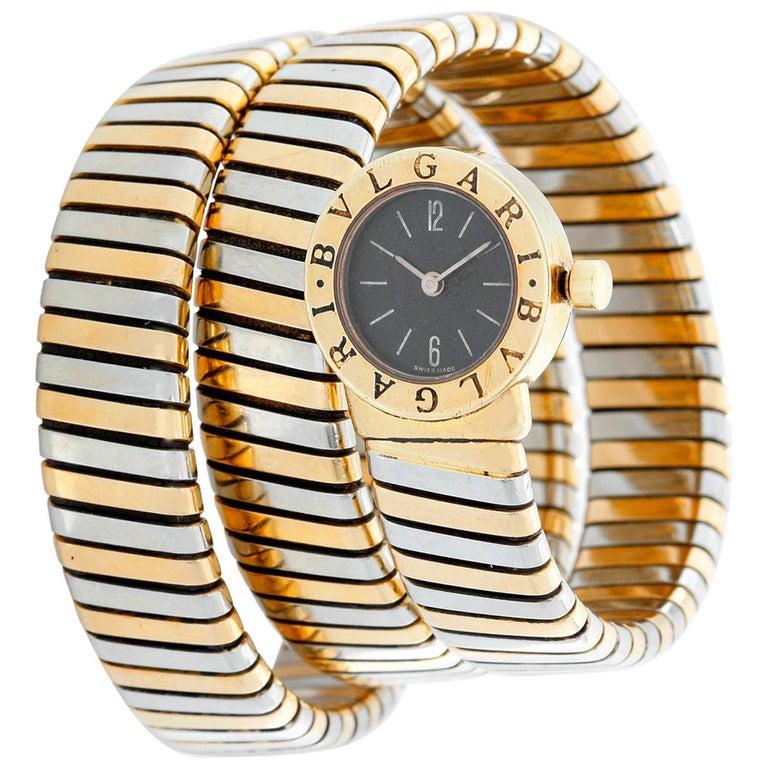 Bulgari Tubogas Ladies Tri-Colo Bvlgari Watch BB191T For Sale at 1stdibs 55430f189eaca