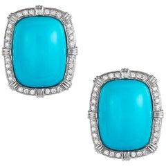 Sleeping Beauty Turquoise and Diamond Earrings