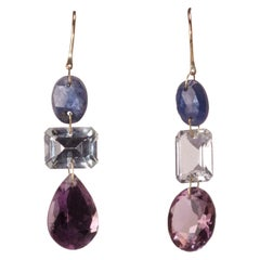 Sapphire, Aquamarine, Amethyst Dangle Earrings