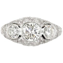 1.83 Carat Diamond Art Deco Filigree Platinum Three-Stone Engagement Ring