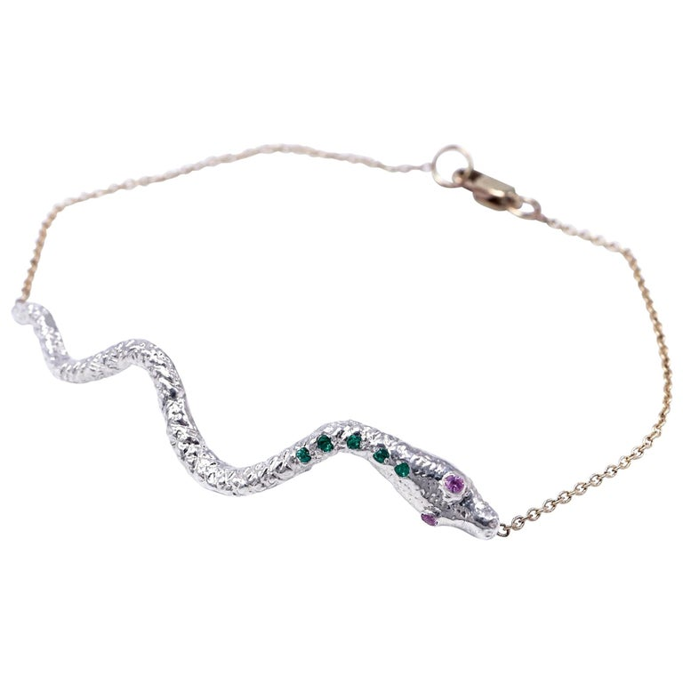 Emerald Pink Sapphire Bracelet Snake Pendant Sterling Silver J Dauphin For Sale