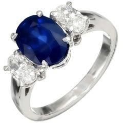 Peter Suchy GIA Certified 3.15 Carat Sapphire Diamond Platinum Engagement Ring