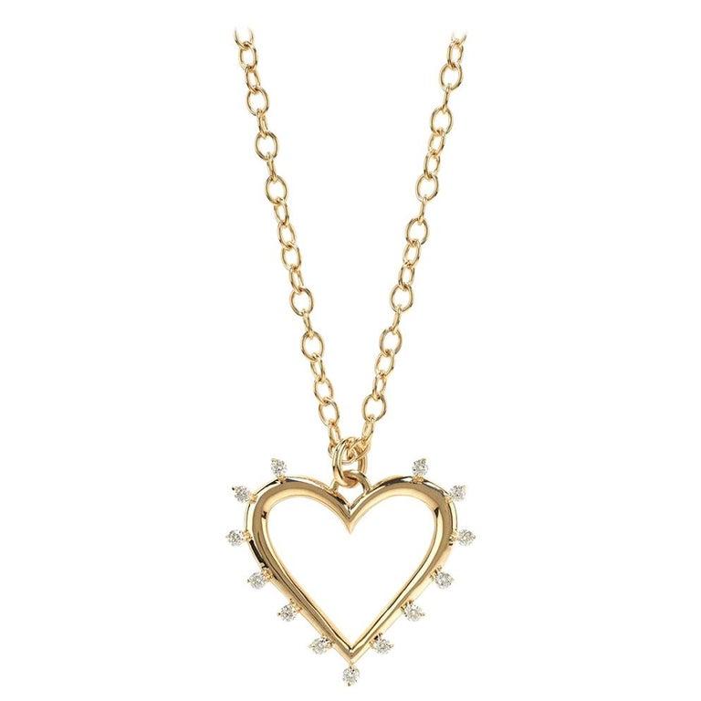 Marlo Laz White Diamonds Yellow Gold 14 Karat Open Heart Charm Necklace For Sale
