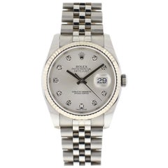 Rolex 1162234 Datejust Stainless Steel Silver Diamond Dial Watch