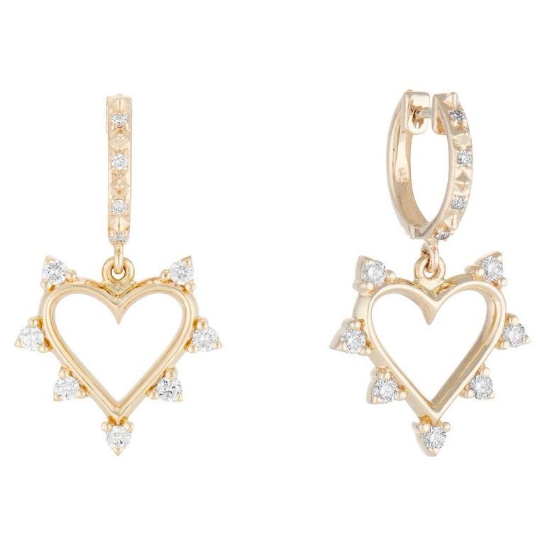 Marlo Laz White Diamond Yellow Gold 14 Karat Heart Spiked Hoop Earrings For Sale