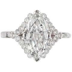 Peter Suchy GIA Certified 1.78 Carat Marquise Diamond Platinum Engagement Ring