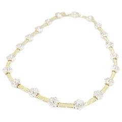 Diamond Flower Necklace 14 Karat White Yellow Gold 0.80 Carat