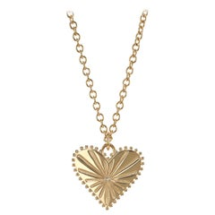 Marlo Laz White Diamond 14 Karat Yellow Gold Heart Coin Charm Necklace