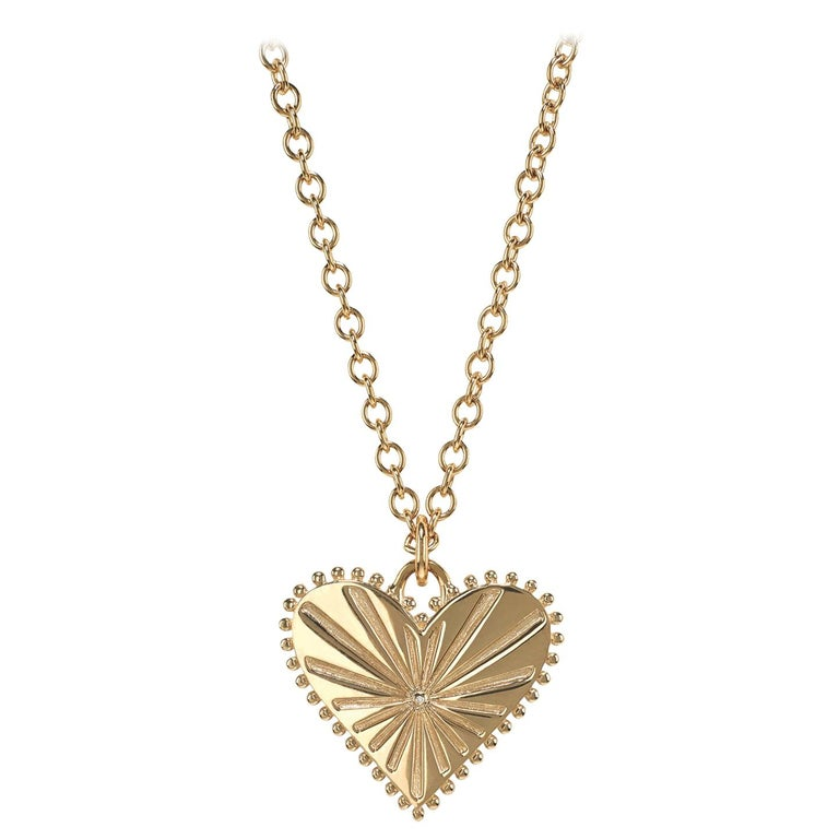 Marlo Laz White Diamond 14 Karat Yellow Gold Heart Coin Charm Necklace For Sale