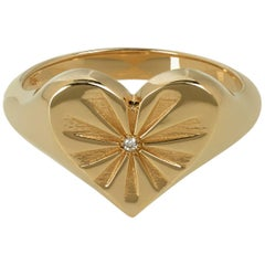 Marlo Laz White Diamond 14 Karat Rose Gold Heart Shape Pinky Ring with Sun-rays
