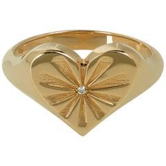 Marlo Laz Diamond 14 Karat Yellow Gold Heart Shape Signet Ring with Sun-rays