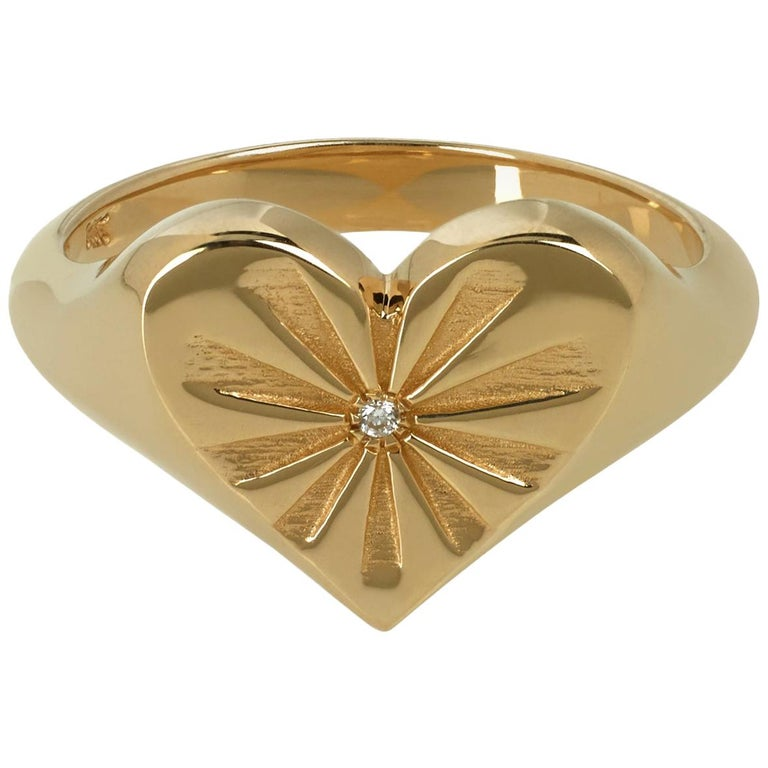 Marlo Laz Diamond 14 Karat Yellow Gold Heart Shape Signet Ring with Sun-rays For Sale