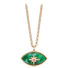Marlo Laz Brazilian Jade Pink Ruby 14 Karat Rose Gold Evil Eye Necklace